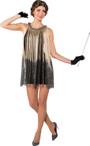 Ladies 20's Gold Ombre Flapper Fancy Dress Costume