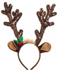 Ladies Sequin Reindeer Antlers Headband