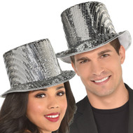 Adults Silver Sequin Top Hat