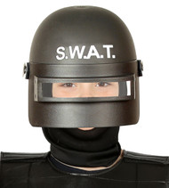 Childs Black SWAT Fancy Dress Helmet