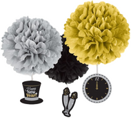New Year's Eve Black and Gold Pom Pom Hanging Decoration