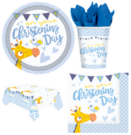 Complete Boys Christening Party Tableware Set
