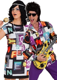Couple 70s Disco Fever Fancy Dress Costume