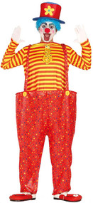 Mens Bright Crazy Clown Fancy Dress Costume