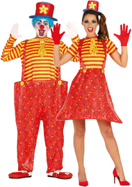 Couples Crazy Clown Fancy Dress Costume