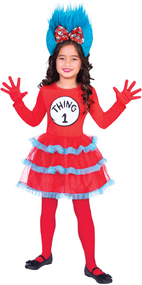Girls Dr Seuss Thing 1 or 2 Fancy Dress Costume
