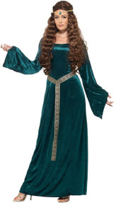 Ladies Teal Medieval Fancy Dress Costume
