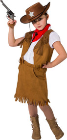 Girls Rustic Cowgirl Fancy Dress Costume