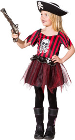 Girls Skull Pirate Tutu Fancy Dress Costume