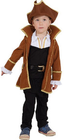 Boys Brown Pirate Captain Fancy Dress Costume
