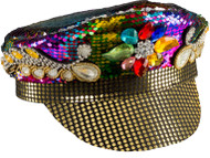 Sequined Rainbow Biker Hat