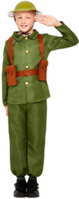 Boys Green WW1 Soldier Fancy Dress Costume