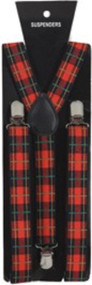 Adults Red Tartan Braces