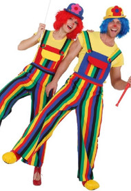 Couples Rainbow Clown Fancy Dress Dungarees