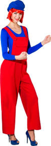 Ladies Red Clown Fancy Dress Dungarees