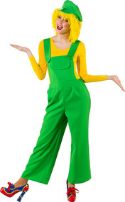 Ladies Green Clown Fancy Dress Dungarees