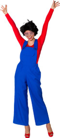 Ladies Blue Clown Fancy Dress Dungarees