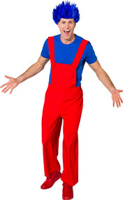 Mens Red Clown Fancy Dress Dungarees