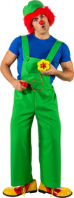 Mens Green Clown Fancy Dress Dungarees