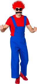 Mens Blue Clown Fancy Dress Dungarees