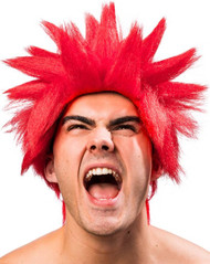 Mens Red Spiked Wig