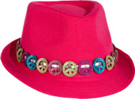 Adults Pink Peace Sign Trilby Hat