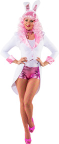 Ladies White & Pink Fancy Dress Tailcoat