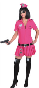 Ladies Sexy Pink Police Fancy Dress Costume