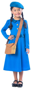 Girls WW2 Country Evacuee Fancy Dress Costume
