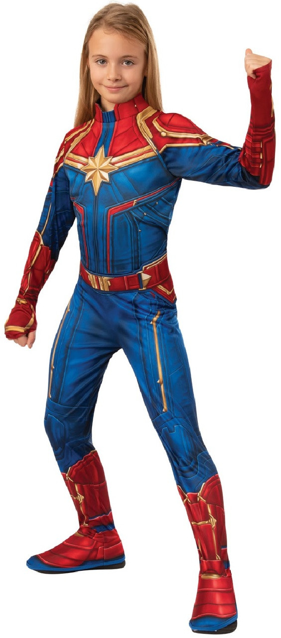 Girls Classic Captain Marvel Hero Fancy Dress Costume Fancy Me Limited 2016 new cosplay zentai suit factory wholesale,it is use the print skill make the costume most like the movie.this costume also use the seamless skill ,zipper is on the back. girls classic captain marvel hero fancy dress costume