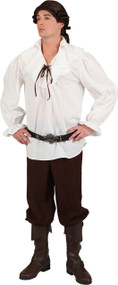 Mens Cream Pirate Fancy Dress Shirt