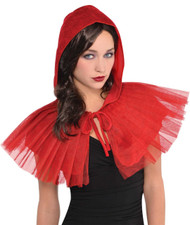 Ladies Hooded Red Net Fancy Dress Cape