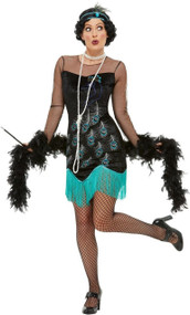 Ladies 20s Sexy Peacock Flapper Fancy Dress Costume