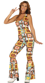 Ladies 70s Jumpsuit Fancy Dress Costume