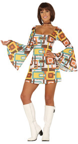 Ladies 1970s Bell Sleeve Fancy Dress Costume