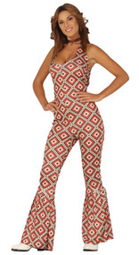 Ladies 70's Jumpsuit Fancy Dress Costume