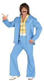 Mens Blue Disco Suit Fancy Dress Costume