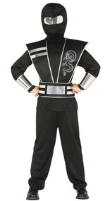 Boys Black/Silver Ninja Fancy Dress Costume