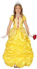 Girls Long Golden Princess Fancy Dress Costume