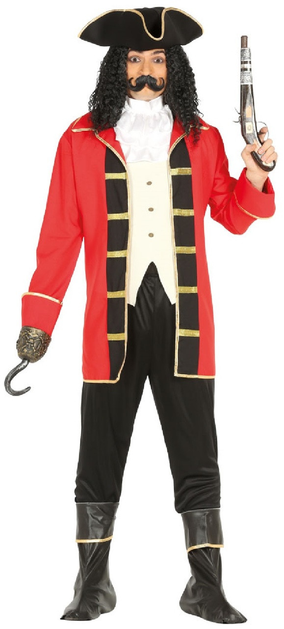 0d599bd6bc9 Mens Red Pirate Captain Fancy Dress Costume