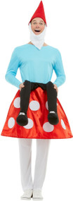 Mens Toadstool Gnome Fancy Dress Costume Outfit