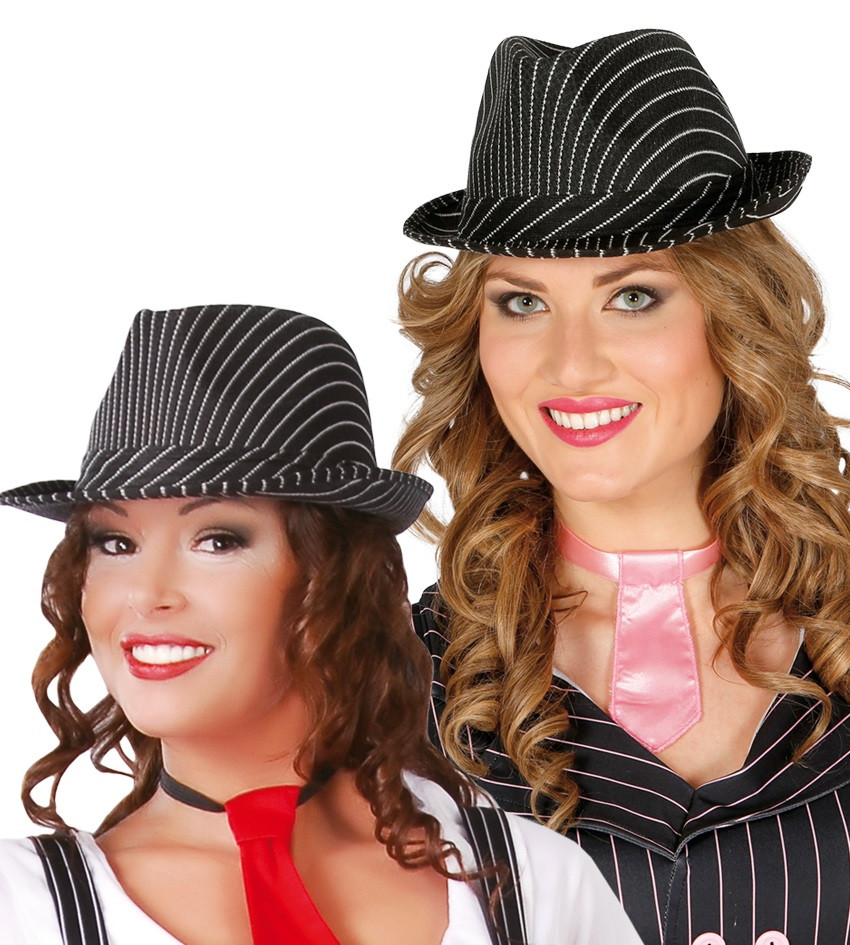 5e3c7388860 Ladies Pinstripe Gangster Trilby Hat. Previous. Image 1