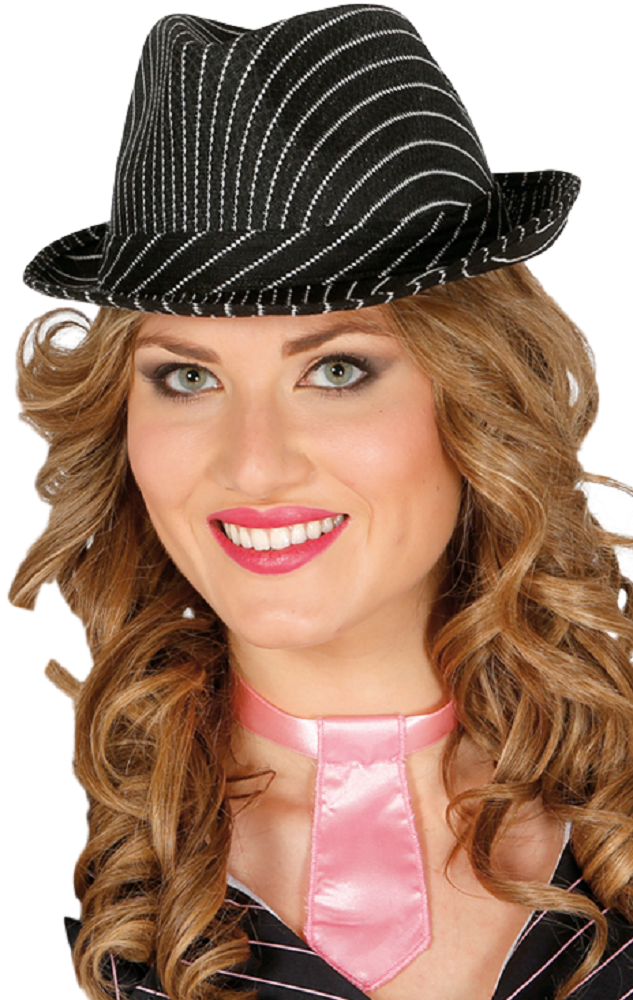 36e96b1ede6 Ladies Pinstripe Gangster Trilby Hat. Previous. Image 1 Click to view full  size image; Image 2