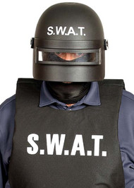 Adult Black SWAT Fancy Dress Helmet