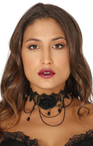 Ladies Black Rose Choker