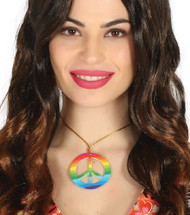 Hippie Rainbow Peace Sign Necklace