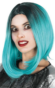 Ladies Ombre Teal Fancy Dress Wig
