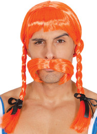 Mens Cartoon Viking Wig And Moustache
