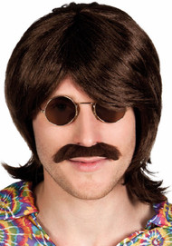 Mens Brown Hippie Wig & Moustache Kit
