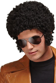 Adult Black 70s Afro Fancy Dress Wig